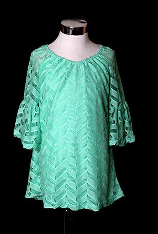 Lace bell sleeve tunic