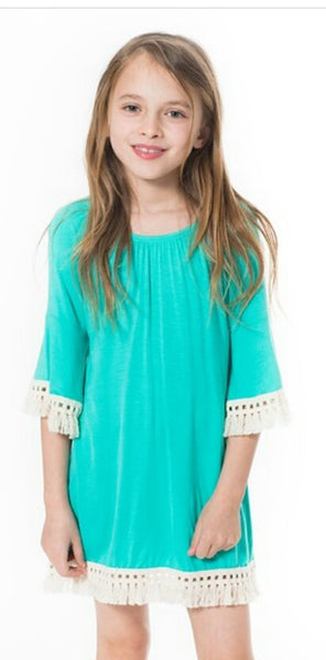 Girl's Bell Sleeve Tassel Dress