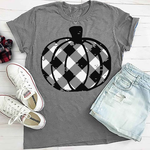 Buffalo Plaid Pumpkin Tee