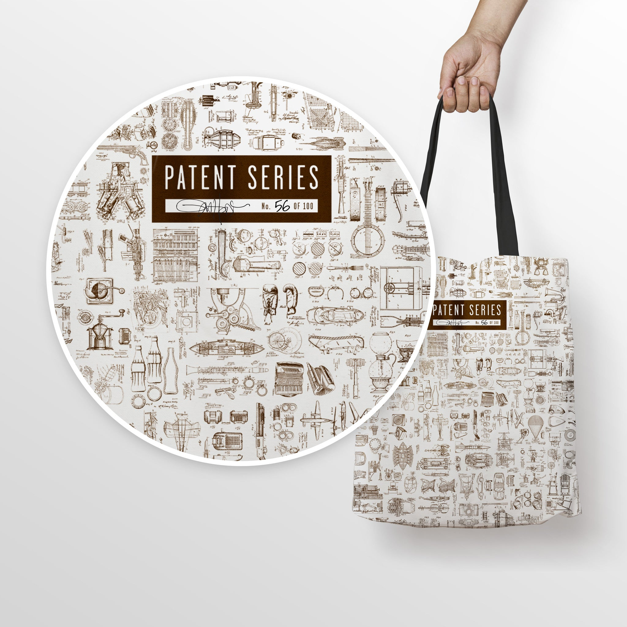 Patent Prints Canvas Tote Bag