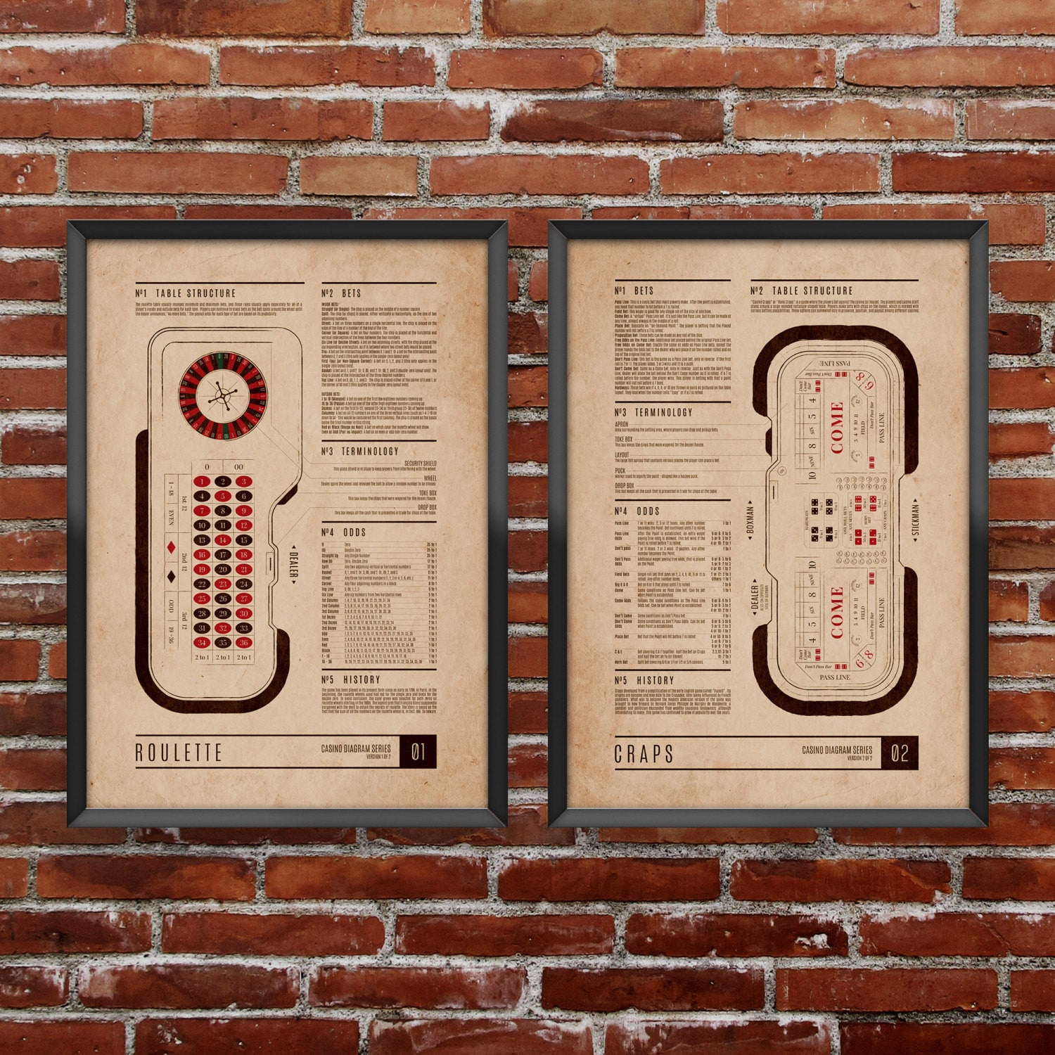 Craps & Roulette Casino Diagram Set