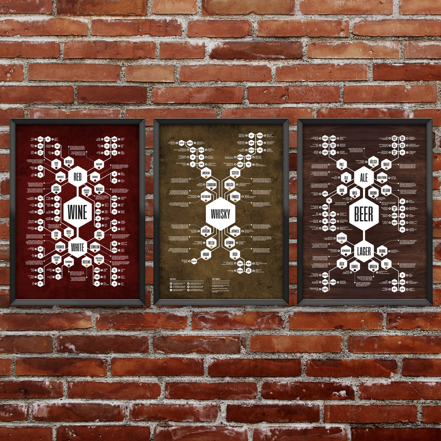 Complete Set of 3 - Beer Diagram + Whiskey Diagram + Wine Diagram Prints