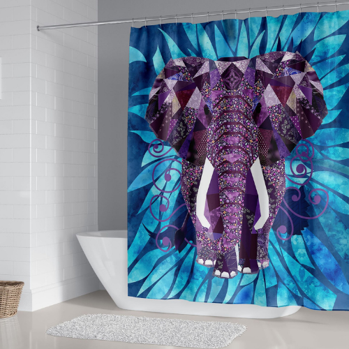 Elephant Design, shower curtain with 12 hooks. - BusDeals Today