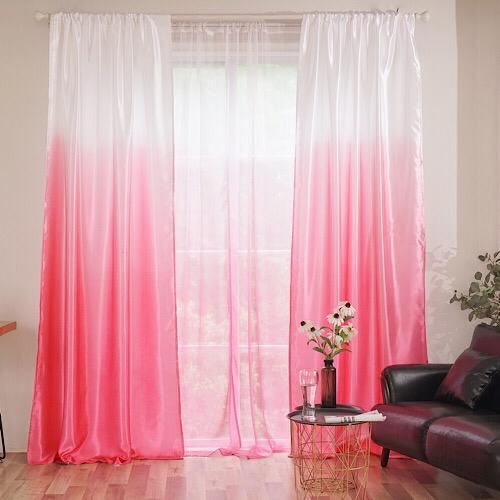 Pink ombre design, curtains window decor, set of 2 pieces. - BusDeals Today