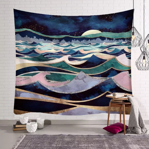 Wall Tapestry Home Decor, Colorful Waves Design. - BusDeals Today