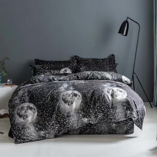 Queen/Double bedding set of 6 pieces, Black with moon design. - BusDeals Today