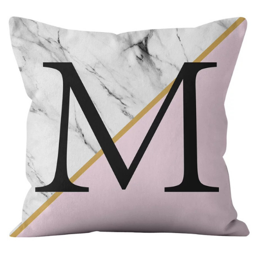 1 Piece Marble with Letter M Design, Decorative Cushion Cover. - BusDeals Today