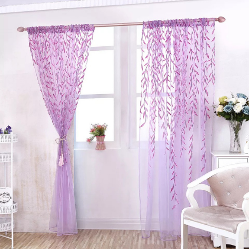 Window sheer, Willow Leaves Design, Purple color set of 2 pieces. - BusDeals Today
