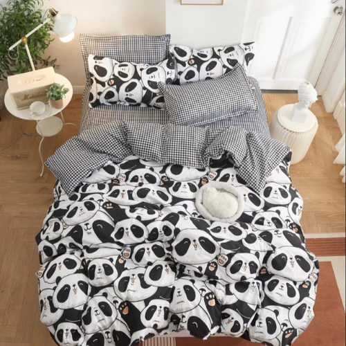 Queen/Double size bedding set of 6 pieces, Cute Panda Design. - BusDeals Today
