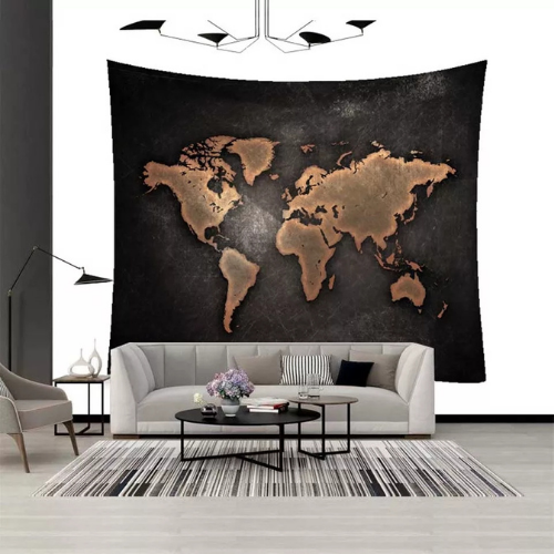 Wall Tapestry Home Decor, Black Map Design. - BusDeals Today