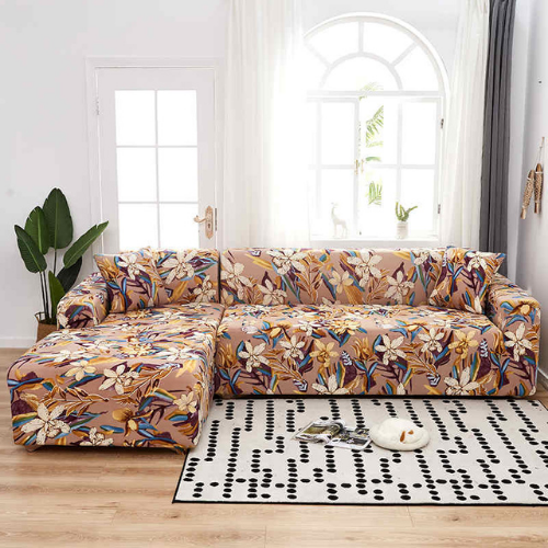 L shape 2 pieces, Sofa Cover Brown Floral  Design. - BusDeals Today