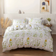 Queen/Double size bedding set of 6 pieces, Green Leaves Print  Design.