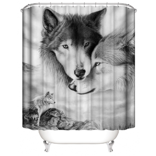 Wolf Design, Shower Curtain with 12 Hooks. - BusDeals Today