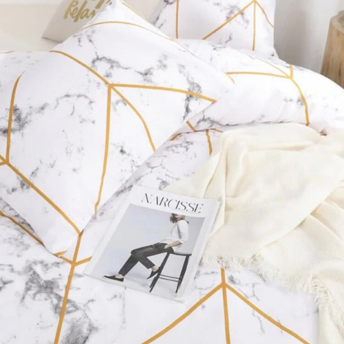 King size bedding set of 6 pieces, Marble design. - BusDeals Today
