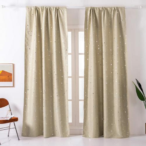 Window Curtains Beige  Color, Small Stars Foil Design. - BusDeals Today