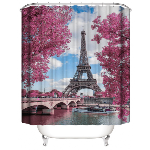 Eiffel Tower Design, Shower Curtain with 12 Hooks. - BusDeals Today