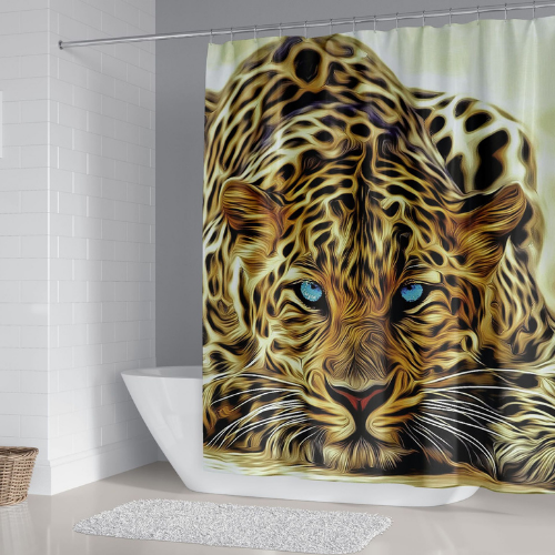 Tiger Design, Shower Curtain with 12 Hooks. - BusDeals Today