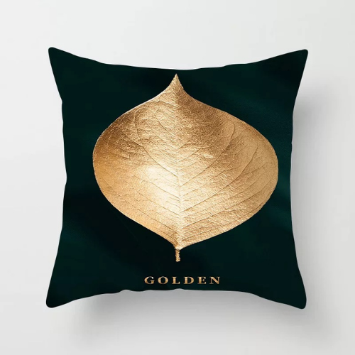 1 Piece Gold Big Leaves Design, Decorative Cushion Cover. - BusDeals Today
