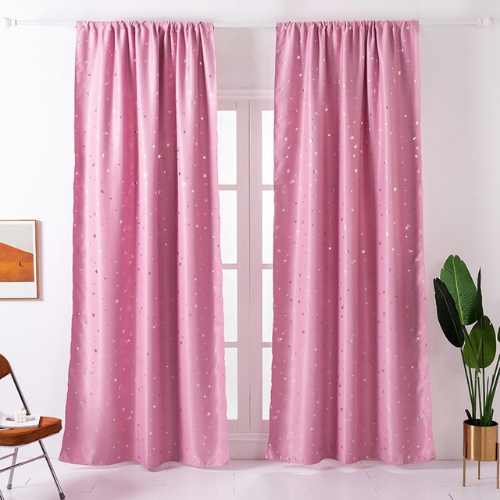 Window Curtains Pink Color, Small Stars Foil Design. - BusDeals Today
