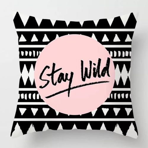 1 Piece  Geometric Stay Wild Design, Decorative Cushion Cover. - BusDeals Today
