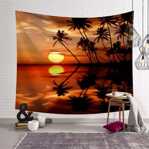 Wall Tapestry Home Decor, Sunset & Palm Tree Design. - BusDeals Today
