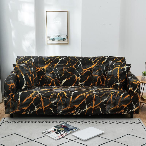 Printed Black Marble Design, Two Seater Sofa Cover. - BusDeals Today