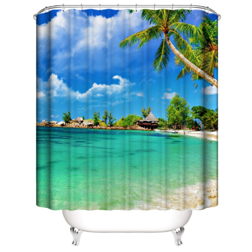 Beautiful Beach Design, Shower Curtain with 12 Hooks. - BusDeals Today