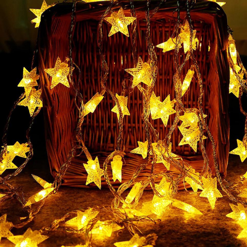 6M 30pcs Star LED String Light, Decorative Light for Indoor, Yellow Color. - BusDeals Today