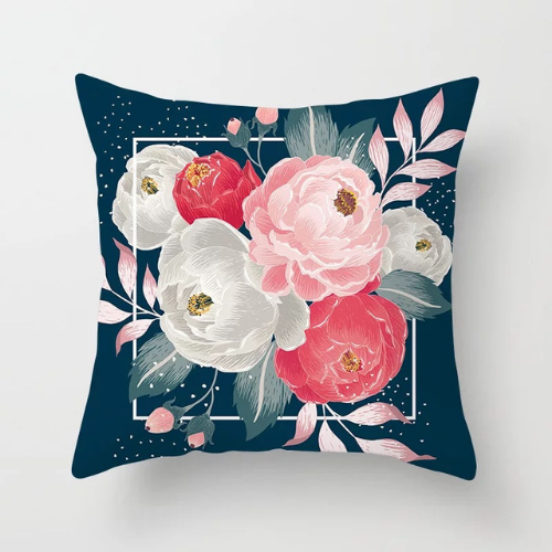 1 Piece White & Pink Floral  Design, Decorative Cushion Cover. - BusDeals Today