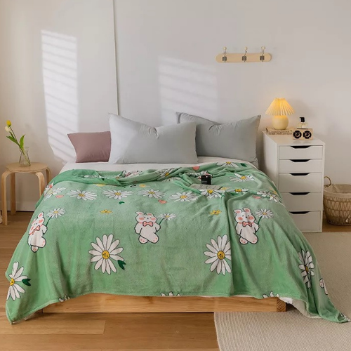 Fleece Blanket, Green with Chamomile Design. - BusDeals Today