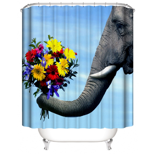 Flower with elephant Design, Shower Curtain with 12 Hooks. - BusDeals Today