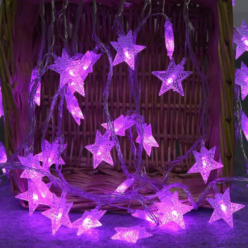 6M 30pcs Star LED String Light, Decorative Light for Indoor, Purple Color. - BusDeals Today