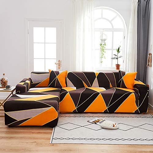 L shape 2 pieces, Sofa Cover Yellow Rhombs Design. - BusDeals Today