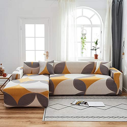 L shape 2 pieces, Sofa Cover Yellow Printed Bohemian.