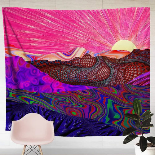 Wall Tapestry Home Decor, Pink Mountain Design. - BusDeals Today