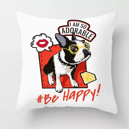 1 Piece  Be Happy Dog  Design, Decorative Cushion Cover. - BusDeals Today