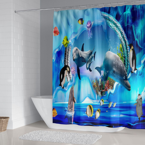 Fishes Design, Shower Curtain with 12 Hooks. - BusDeals Today
