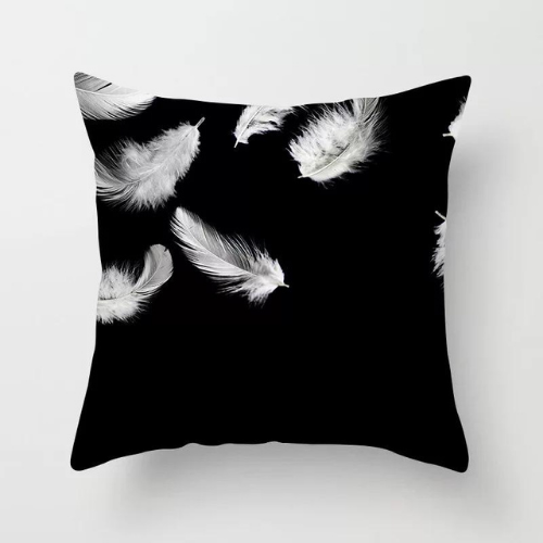 1 Piece White Feather Design, Decorative Cushion Cover. - BusDeals Today