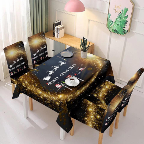 Christmas Table Cloth with  4 Piece Chair Covers, Santa with Reindeer Design. - BusDeals Today