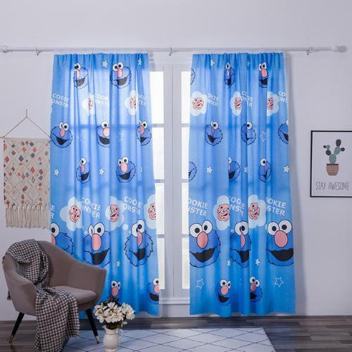 Window curtains, children design, double layer set of 2 pieces. - BusDeals Today