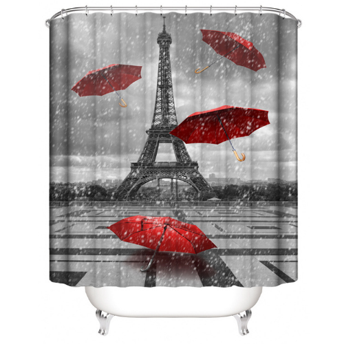Paris with Red Umbrella Design, Shower Curtain with 12 Hooks. - BusDeals Today