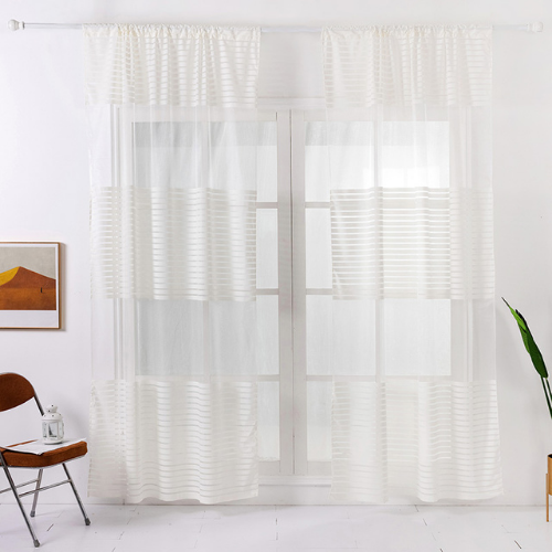 Modern  Striped Tulle,  Window Sheer Curtains set of 2 Pieces, Milky White Color. - BusDeals Today
