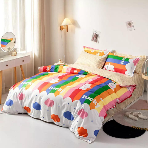6 Pieces Queen/Double Size, Clouds Design Cream Color , Bedding Set without Filler - BusDeals Today