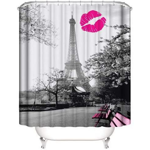 Paris design, shower curtain with 12 hooks. - BusDeals Today