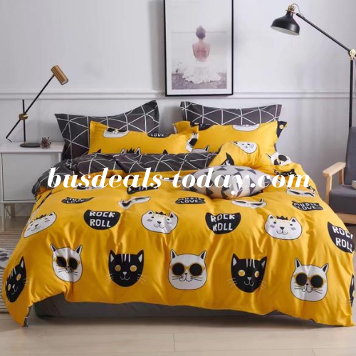 Single size 4 pieces, Yellow with Cute Cat Design. - BusDeals Today