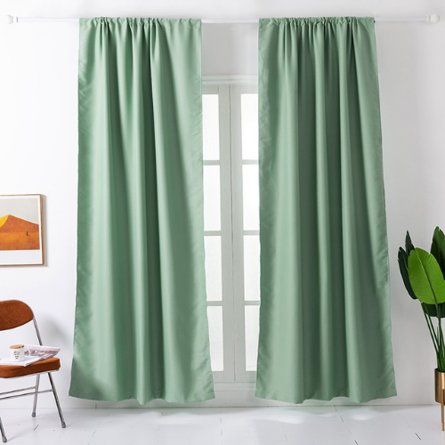 Window Curtains Green Color , set of 2 Pieces. - BusDeals Today