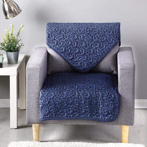 Reversible sofa cover one seater, navy blue leopard design. - BusDeals Today