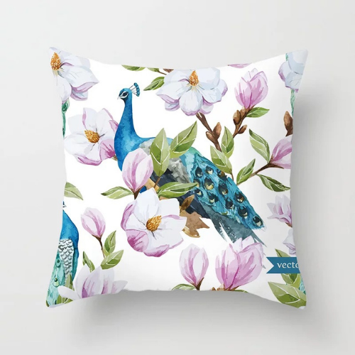 1 Piece Peacock & Flower Design, Decorative Cushion Cover. - BusDeals Today