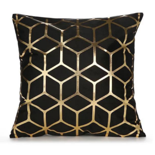 1 Piece Black & Gold Print Decorative Cushion Cover. - BusDeals Today