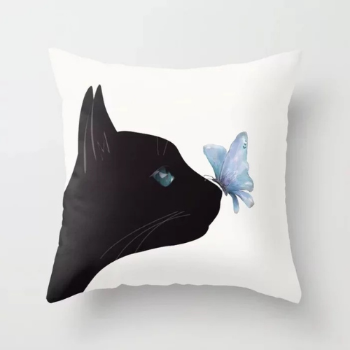 1 Piece Black Cat & Butterfly Design, Decorative Cushion Cover. - BusDeals Today